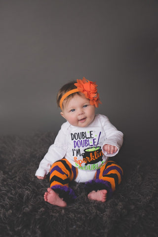 Baby girl Halloween outfit -- Double Double I'm sparklin trouble outfit bodysuit or shirt, headband and legwarmers. Halloween outfit - Pretty's Bowtique