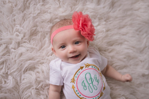 Girls Gold Arrow Monogram Shirt or Bodysuit and matching headband  - tribal aztec - Pretty's Bowtique