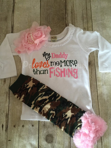 Girls My Daddy loves me more than Fishing bodysuit or t shirt, leg warmers and headband.  Can customize colors - Pretty's Bowtique