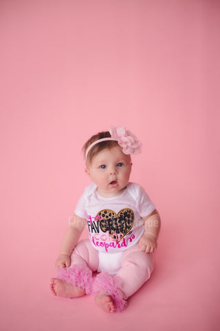 Baby girls My favorite color is lepoard outfit -- Bodysuit or t shirt, legwarmers and flower headband - Pretty's Bowtique