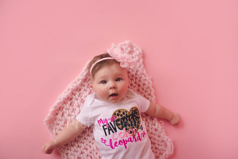 Baby girls My favorite color is lepoard shirt or bodysuit and headband -- Bodysuit or t shirt baby, toddler, children - Pretty's Bowtique