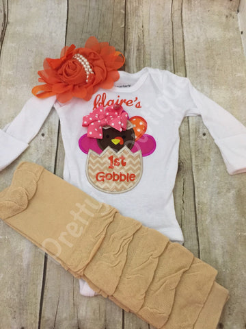 Girls My 1st thanksgiving bodysuit or shirt, legwarmers and headband -- Thanksgiving  My 1ST Gobble baby girls - Pretty's Bowtique