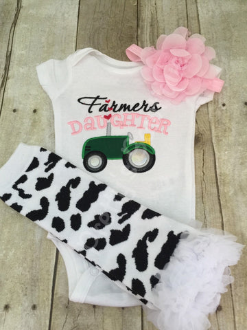 Baby Girl Outift -- Farmer's Daughter bodysuit or t shirt, headband, and legwarmers.  Can customize wording and colors - Pretty's Bowtique