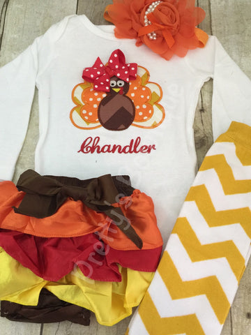 3ccf110c3 Thanksgiving Outfit Baby Girl – Turkey Embroidered Bodysuit
