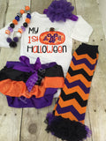 Baby 1st Halloween bodysuit or shirt - My 1st Halloween outfit bodysuit or shirt, necklace, bloomer, headband and legwarmers. Monogram perso - Pretty's Bowtique