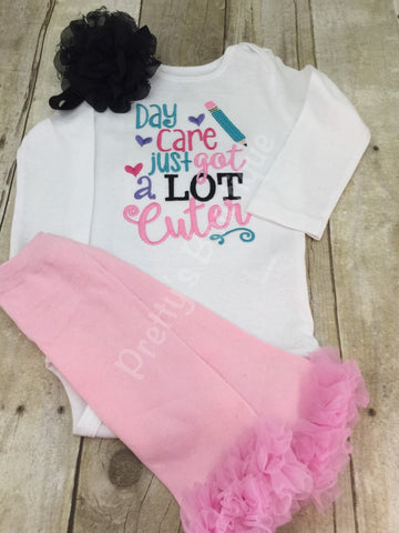 Day Care just got a lot cuter Baby Girl Embroidered Bodysuit, Headband & Legwarmers Set - Pretty's Bowtique