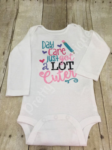 Day Care just got a lot cuter Baby Girl Embroidered shirt or bodysuit - Pretty's Bowtique