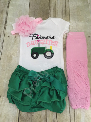 Farmer's Daughter bodysuit or t shirt, headband, bloomer and legwarmers.  Can customize wording and colors - Pretty's Bowtique