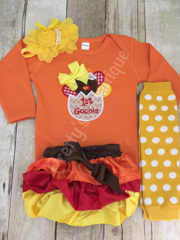 Baby Girls First Thanksgiving Outfit with Legwarmers, Bloomers and Flower Headband – Sizes Newborn to 24 Months - Pretty's Bowtique