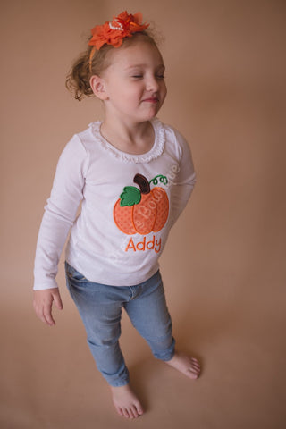 Girls Pumpkin Shirt or bodysuit - Personalized Pumpkin Fall Shirt Can Customize fabrics and colors - Pretty's Bowtique