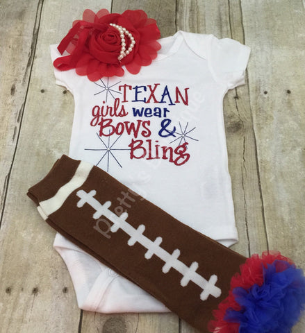 Girls Football outfit -- Texans inspired girls like bling bodysuit set with ruffled football leg warmers and headband - Pretty's Bowtique