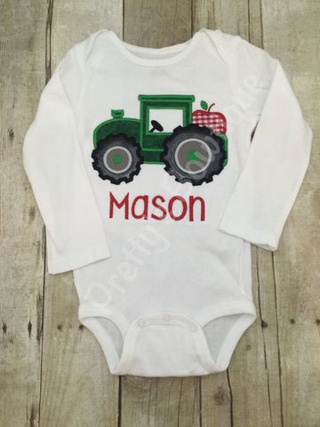 Fall Apple tractor boys shirt or bodysuit -- Tractor boys fall shirt - Pretty's Bowtique