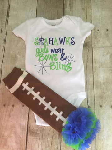 Seahawks inspired girls like bling bodysuit  set with ruffled football leg warmers - Pretty's Bowtique