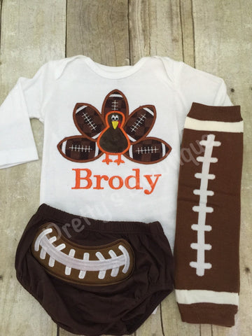 Boys Thanksgiving Football bodysuit or Shirt for babies, toddler, and children.  Football Turkey Shirt, diaper cover and legwarmers - Pretty's Bowtique