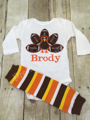 Boys Thanksgiving bodysuit or Shirt for babies, toddler, and children.  Football Turkey Shirt and legwarmers - Pretty's Bowtique