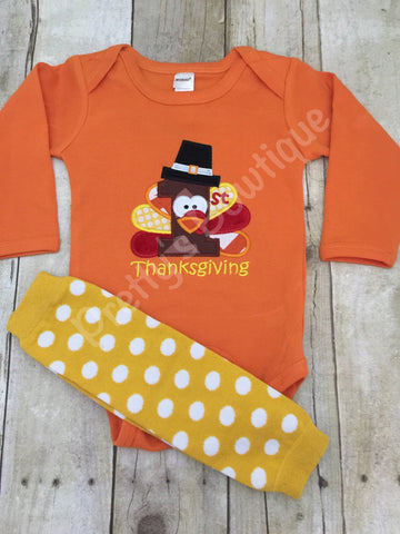 Baby boys 1st Thanksgiving Bodysuit or Shirt and legwarmers -- 1st thanksgiving - Pretty's Bowtique