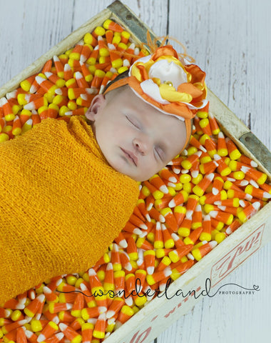 Fall headband bow Stunning lace headband flowers, Candy Corn, pearls, lace, and rhinestones - Pretty's Bowtique
