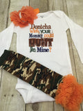 Dontcha wish your daddy could hunt like mine? bodysuit, leg warmers and headband.  Can customize colors - Pretty's Bowtique