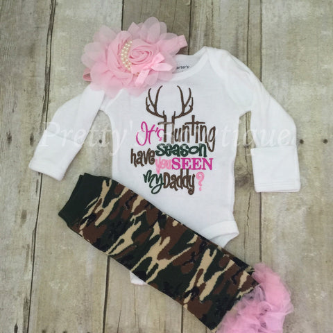 It's hunting season have you seen my daddy? t shirt or bodysuit, headband and legwarmers PINK**SALE** - Pretty's Bowtique
