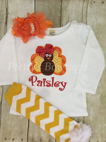 Thanksgiving Outfit Baby Girl - Turkey Embroidered Bodysuit, Headband & Legwarmers Set Personalized with Name - Pretty's Bowtique