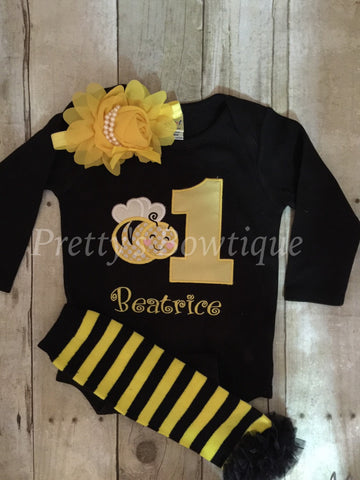 Girls Bumble Bee 1st Birthday shirt or bodysuit, legwarmers and headband - Bumble Bee Birthday Shirt can be any age - Pretty's Bowtique