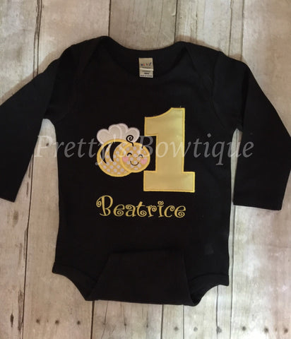 Girls Bumble Bee 1st birthday shirt or bodysuit - Bumble Bee Birthday Shirt can be any age - Pretty's Bowtique