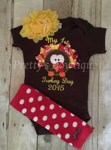 Girls First thanksgiving outfit - Thanksgiving girls shirt  babies, toddler, and children legwarmers and headband RIBBON turkey - Pretty's Bowtique