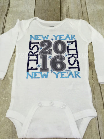 Baby boy 1st New Year's Shirt or bodysuit - any size ADD name for NO CHARGE 2017 - Pretty's Bowtique