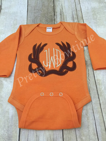 Monogram Deer Antler Bodysuit or t shirt - Can customize colors - Pretty's Bowtique
