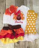 Thanksgiving Outfit Baby Girl – Turkey Embroidered Bodysuit, Bloomer, Headband & Polka Dot Legwarmers Set Personalized with Name - Pretty's Bowtique