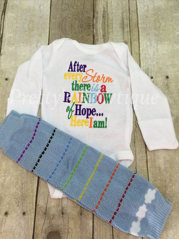 Coming home outfit Rainbow Baby Set Bodysuit or shirt and matching legwarmers Miracle baby - Pretty's Bowtique