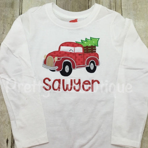 Christmas pickup truck with tree. Personalize at no extra charge - Pretty's Bowtique