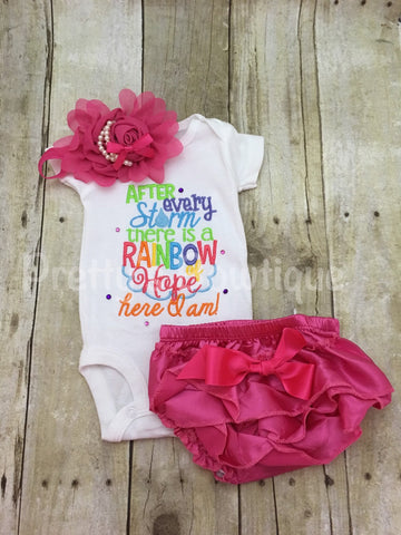 After every storm there is a rainbow of hope... Here i am! Bodysuit or shirt, diaper cover and headband - Pretty's Bowtique