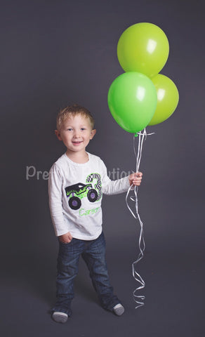 Monster Truck Birthday Shirt with Name & Age Embroidered – Sizes Newborn to Youth - Pretty's Bowtique