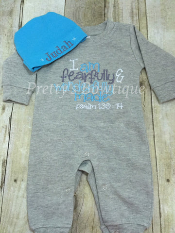 Baby Boy Coming Home Outfit -- I am fearfully &  wonderfully made  Romper with Hat with Embroidered Name - Pretty's Bowtique