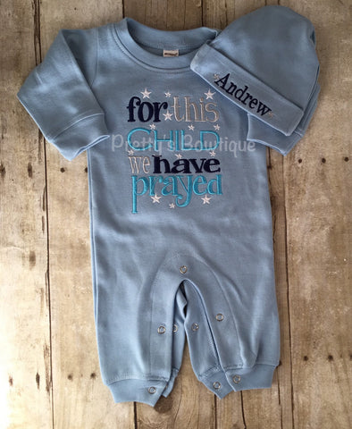 Baby Boy Outfit -- For This Child We Have Prayed Romper & Hat with Embroidered Name - Pretty's Bowtique
