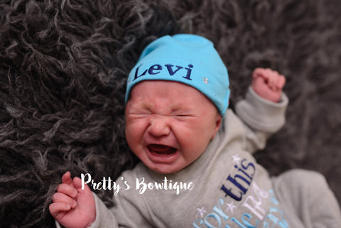 Baby Boy Coming Home Outfit -- For This Little Boy We Have Prayed Romper & Hat with Embroidered Name - Pretty's Bowtique