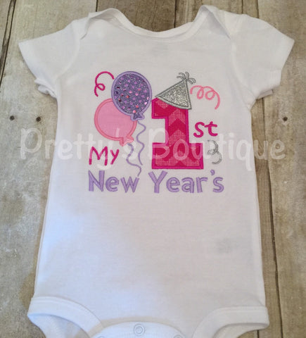 1st New Years Bodysuit -- Girls New Years Shirt or Bodysuit -- 1st New Year's Shirt or bodysuit any size - Pretty's Bowtique