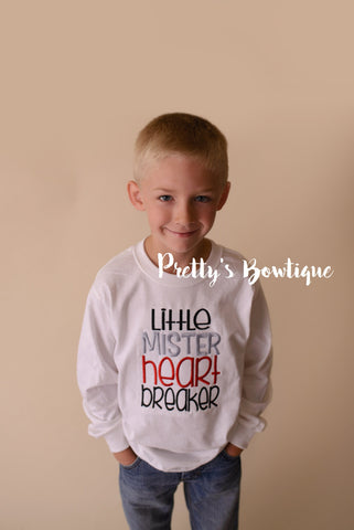 Boys Valentine's Shirt Little Mister heart breaker-- Boys Valentine shirt or bodysuit - Pretty's Bowtique