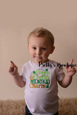 Boys St. Patrick's Day Shirt -- Mommy & Daddys Lucky Charm bodysuit or t shirt - St. Patricks Day shirt - Lucky Charm Saint Patricks - Pretty's Bowtique
