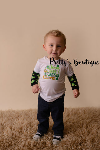 Boys St. Patrick's Day Shirt -- Mommy & Daddys Lucky Charm bodysuit or t shirt with legwarmers shown as arm warmers - St. Patricks Day shirt - Pretty's Bowtique