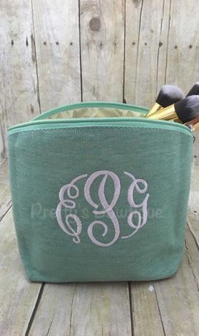 Monogram Make-up Bag  -- Embroidered personalized cosmetic bag - Pretty's Bowtique