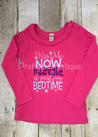 Girls New Year's bodysuit or shirt  - Kiss me now midnight is before my bedtime - Pretty's Bowtique