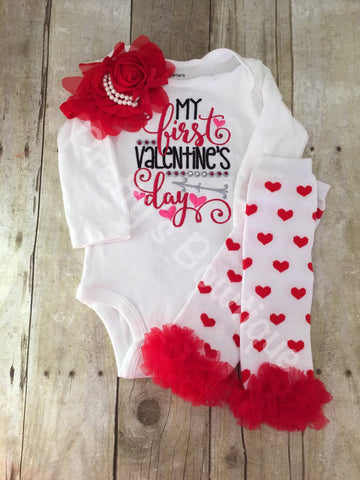 Baby Girls My 1st Valentines Day Shirt Legwarmers and headband -- Valentine's Shirt, headband, and legwarmers outfit - Pretty's Bowtique