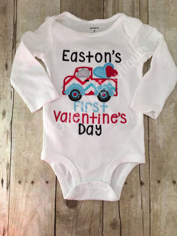 Baby Boys Valentine's Day shirt or bodysuit- Boys Pick up truck shirt or bodysuit -- Valentines boys shirt or bodysuit - Pretty's Bowtique