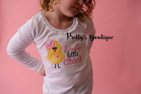 Daddys Little Chick -- Girls Easter Shirt -- Girls Easter Bunny shirt or Bodysuit -- Girls T Shirt -- Bodysuit - Pretty's Bowtique