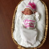 Baby Girl Coming Home Outfit -- The Princess Has Arrived Embroidery Design Gown & Hat Set - Pretty's Bowtique