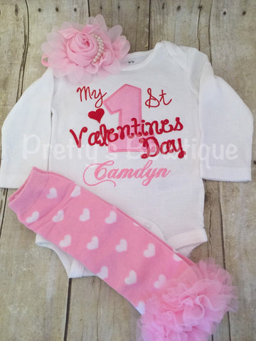 Baby Girls My 1st Valentine's Day Shirt or bodysuit -- First Valentine's Day personalized shirt, legwarmers and headband - Pretty's Bowtique