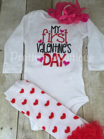 Baby Girls My 1st Valentine's Day Shirt or bodysuit -- First Valentine's Day personalized shirt, legwarmers and headnand - Pretty's Bowtique
