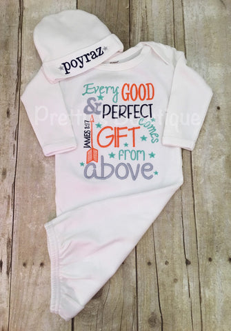 Newborn boy coming home outfit Every good and perfect gift comes from above James 1:27 gown and hat - Pretty's Bowtique